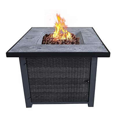 Amazon Com Cloud Mountain Fire Tables Fire Pit 29 9 Outdoor Rattan