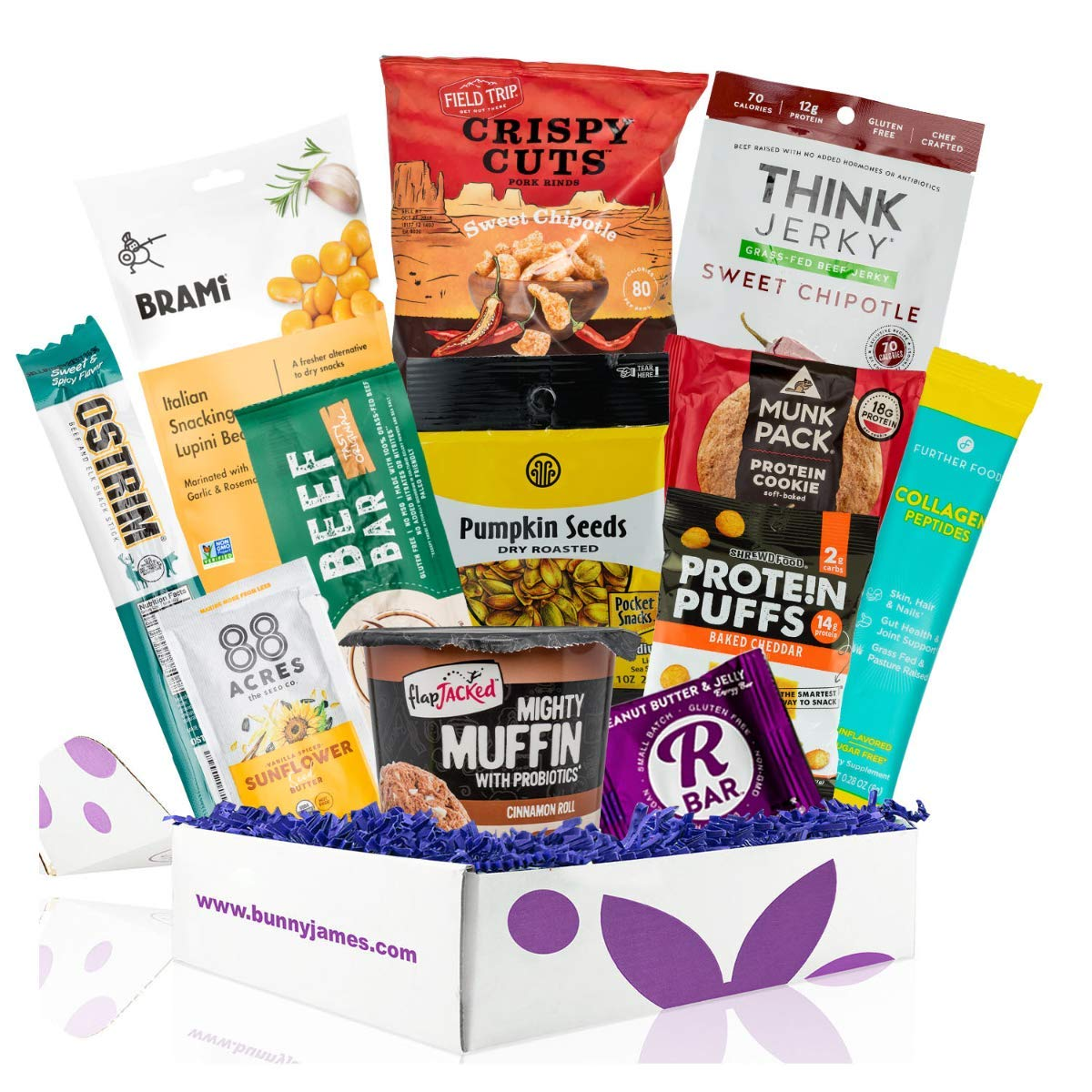 High Protein Sampler Snack Box: Healthy Fitness Snacks Care Package, Prefect Healthy Gifts For Men, Military, Athletes Gift Basket