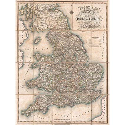 Map Of England Vintage.Amazon Com Wee Blue Coo 1830 Pigot Pocket Map England And Wales
