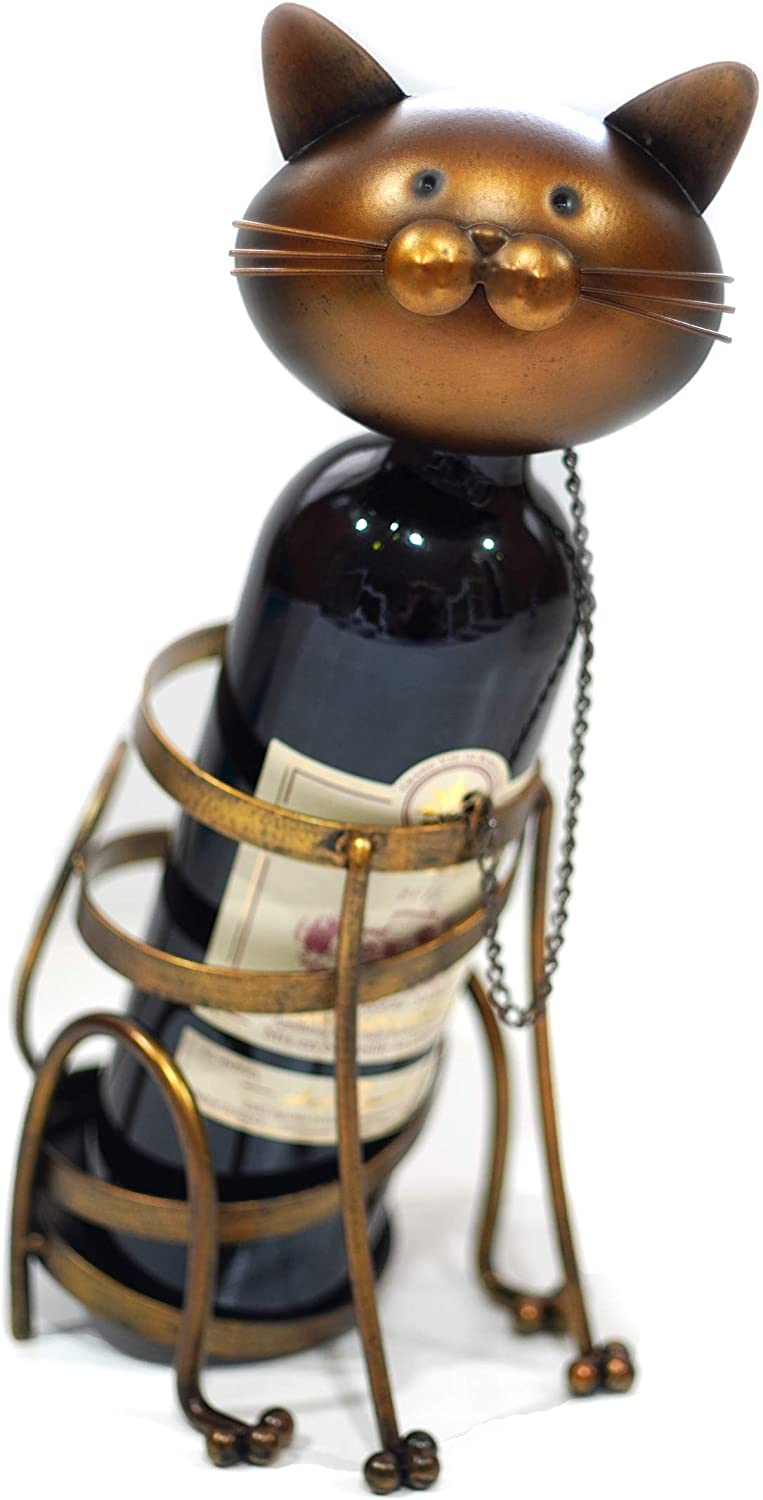 Mamony Decorative Wine Holder - Single Bottles Wine Rack for Counter top, Tabletop - Cat Lovers Wine Holder for Home Decoration…