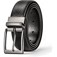 Okany Mens Classic Dress Reversible Leather Belt Rotated Polished Buckle with Beautiful Gift Box, Color Black