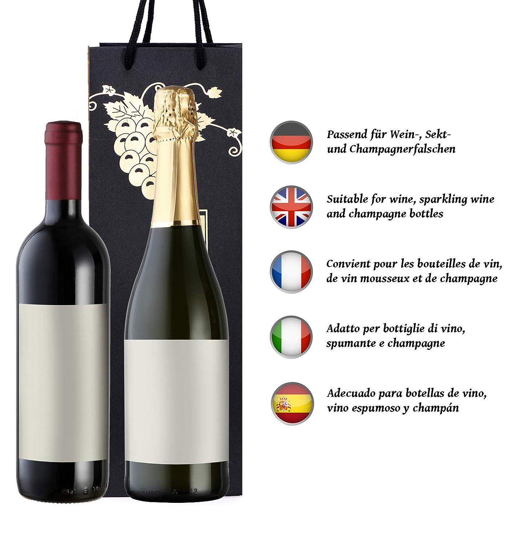 prosecco y champ/án 40 x 12 x 9 cm copas de plata 10 bolsas para botellas bolsas de regalo para vino