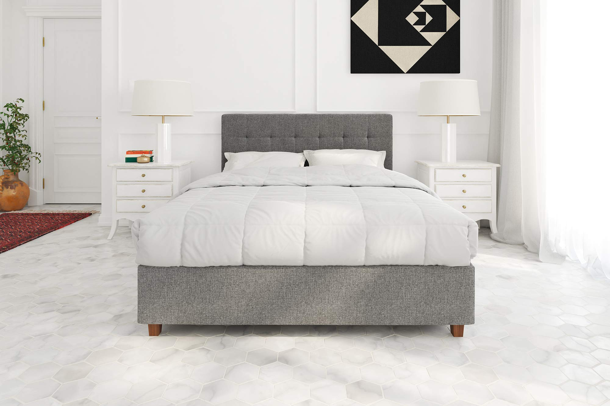 DHP Poppy Tufted Upholstered Platform Bed Frame, Grey Linen, Full by DHP