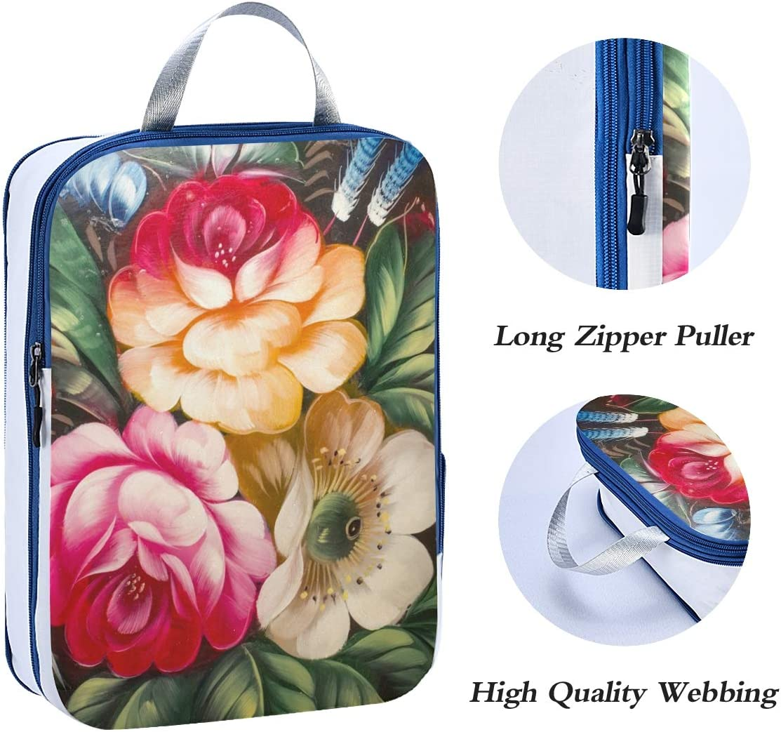 a Floral Flower 3 Set Packing Cubes,2 Various Sizes Travel Luggage Packing Organizers