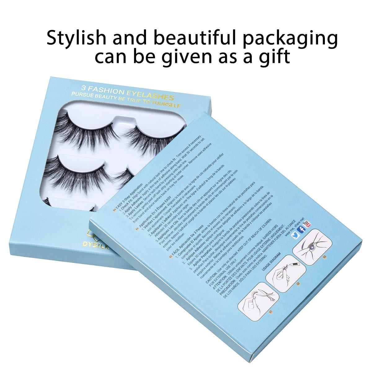 DYSILK 3D Eyelashes Mink Natural Look False Eyelashes Wispy Extension Makeup Long Handmade Fake Eyelashes Fluffy Soft Reusable Black 3 Pairs
