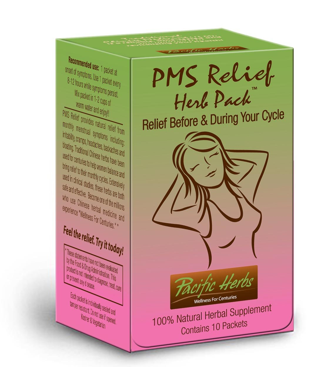 PMS Relief Herb Pack Natural Period Cramp Remedy - 10 Packet Box - Alternative Pain Relief - Use 1-2 packets per month for Cramps, Headaches, Bloating, Moodiness, Backache