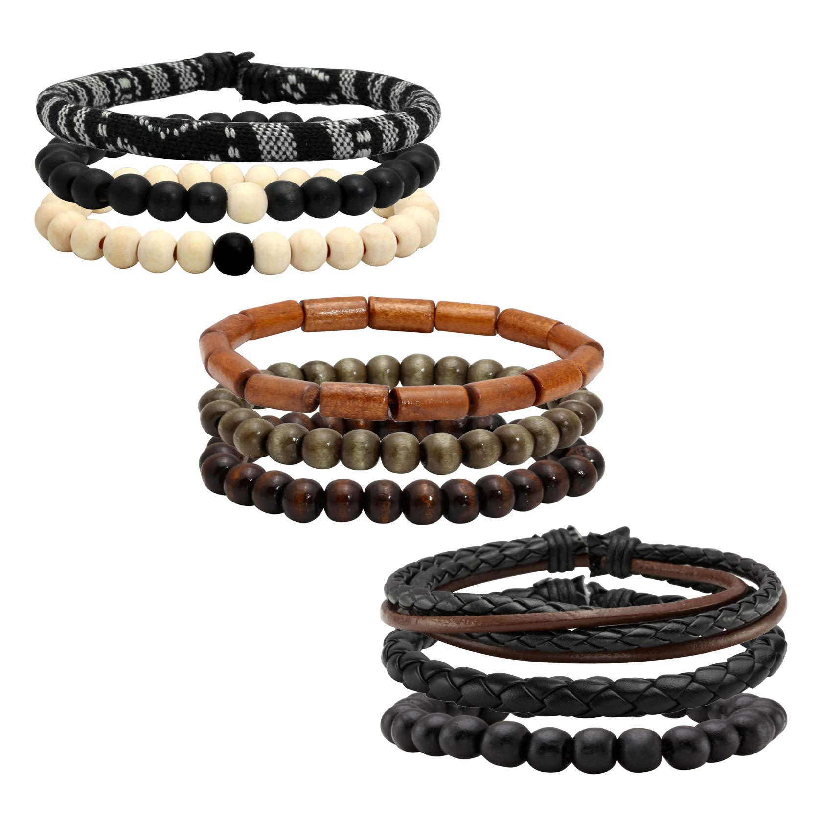 Milakoo 9 Pcs Braided Leather Bracelet for Men Women Cuff Wrap Bracelet Adjustable Black and Brown