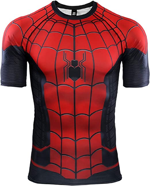 Superhero Spiderman Men Compression Shirt Top Short Sleeve For Outdoor Black B
