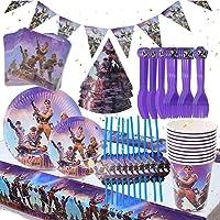BESLIME Game Party Supplies Vajilla para fiestas Diseño Incluye pancartas, platos, tazas, servilletas, gorro, cuchara…