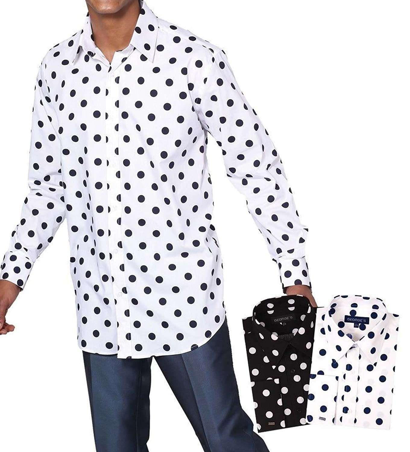 George's Big Polka Dot Pattern Shirt With French Cuff AH616-BGD-20 ...