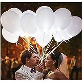 50 Weiß LED beleuchtete Luftballons für die Party, Geburtstag, Hochzeit, Festival und mehr