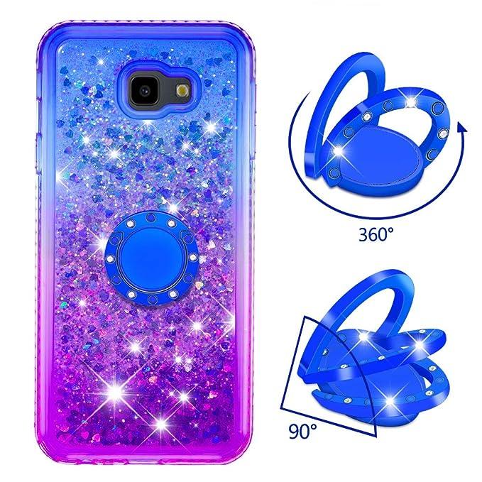 Dclbo H/ülle f/ür Samsung Galaxy J4 Plus Handyh/ülle Glitzer Bling Fl/üssig Schutzh/ülle Silikon TPU Case H/ülle Diamant Cover mit Ring Halterung Standfunktion f/ür Samsung Galaxy J4 Plus-Blau Lila