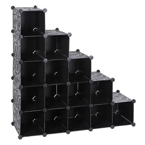 SONGMICS 16 Cube DIY Plastic Interlocking Shoe Rack Modular Shelving  Storage Organizer Cabinet Black LPC44H