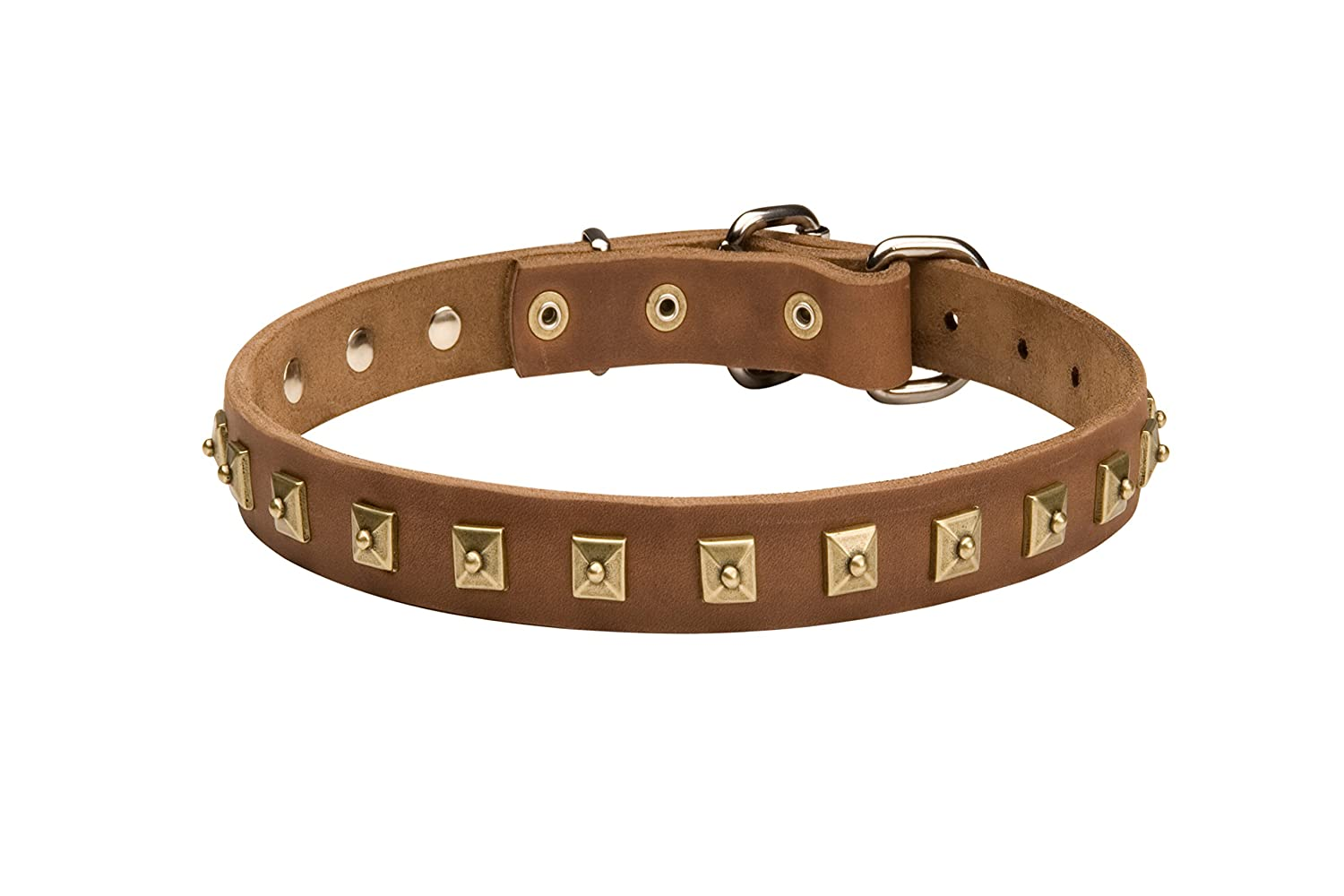 Brown fits for 40 inch dog's neck size Brown fits for 40 inch dog's neck size 40 inch Brown Leather Dog Collar with 1 Row of Dotted Pyramids  Caterpillar Style - 1 inch (25 mm) wide