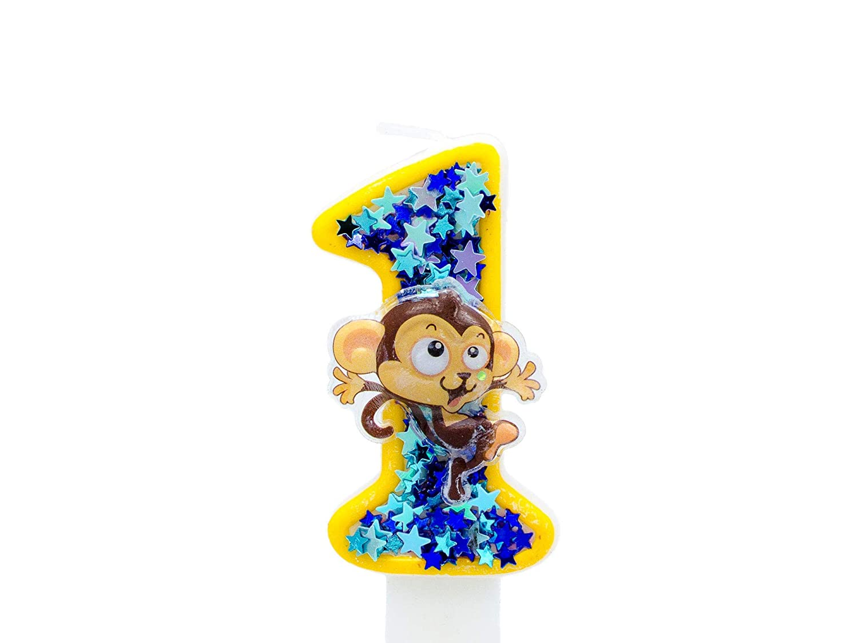 Groovy Amazon Com Monkey 1St Birthday Candle Boys Girls First Birthday Personalised Birthday Cards Veneteletsinfo
