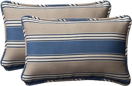 Amazon Com Pillow Perfect Decorative Blue Tan Striped Toss Pillows Rectangle 2 Pack Home Kitchen