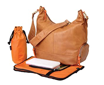 Amazon.com: OiOi Leather Hobo Diaper Bag - Tan & Orange: Baby