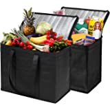 NZ Home XL Insulated Shopping Bags for Groceries or Food Delivery, Sturdy Zipper, Foldable, Washable, Heavy Duty, Stands…