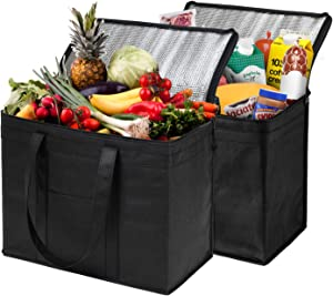 NZ Home XL Insulated Shopping Bags for Groceries or Food Delivery, Sturdy Zipper, Foldable, Washable, Heavy Duty, Stands Upright, Completely Reinforced Bottom (2 Pack, Black)