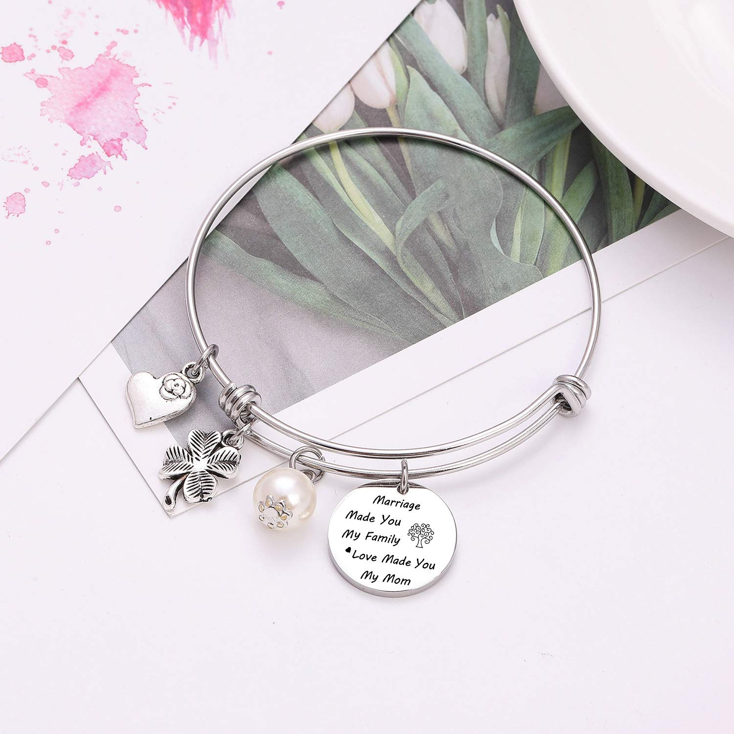 TzrNhm Blossom Marriage Made You My Family Love Made You My Mom Bangle Necklace Keychain for Mother in Law,Stepmom