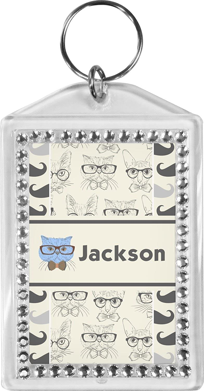 Hipster Cats & Mustache Bling Keychain (Personalized)
