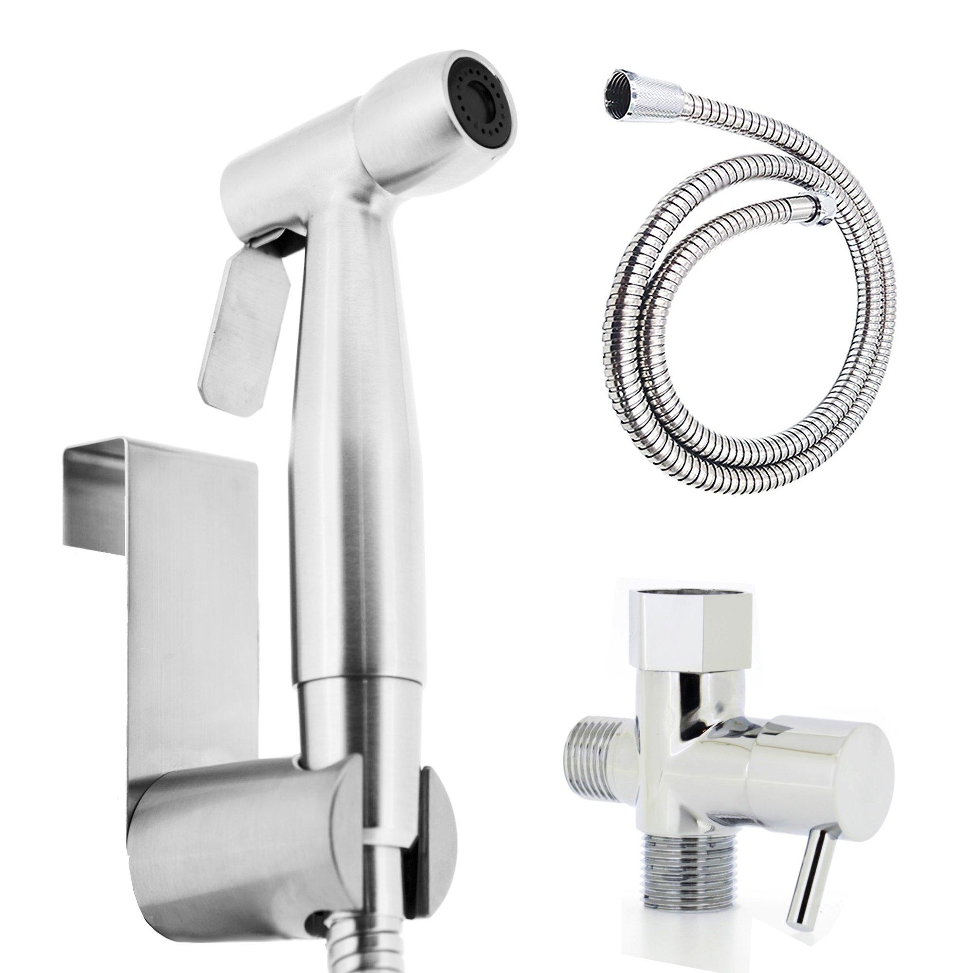 Luxe Hand Held Bidet Sprayer Muslim Shower Shattaf Diaper Sprayer Attachment Kit Stainless Steel w Metal Hose, Hanger and Adapter
