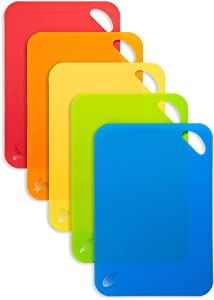 SUPJOYES Flexible Cutting Board Mats: Color Coded Plastic Cutting Board with Food Icons, Set of 5 Piece, BPA-Free, Non-Porous, Dishwasher Safe, Textured Non-Slip Design with Hanging Hole