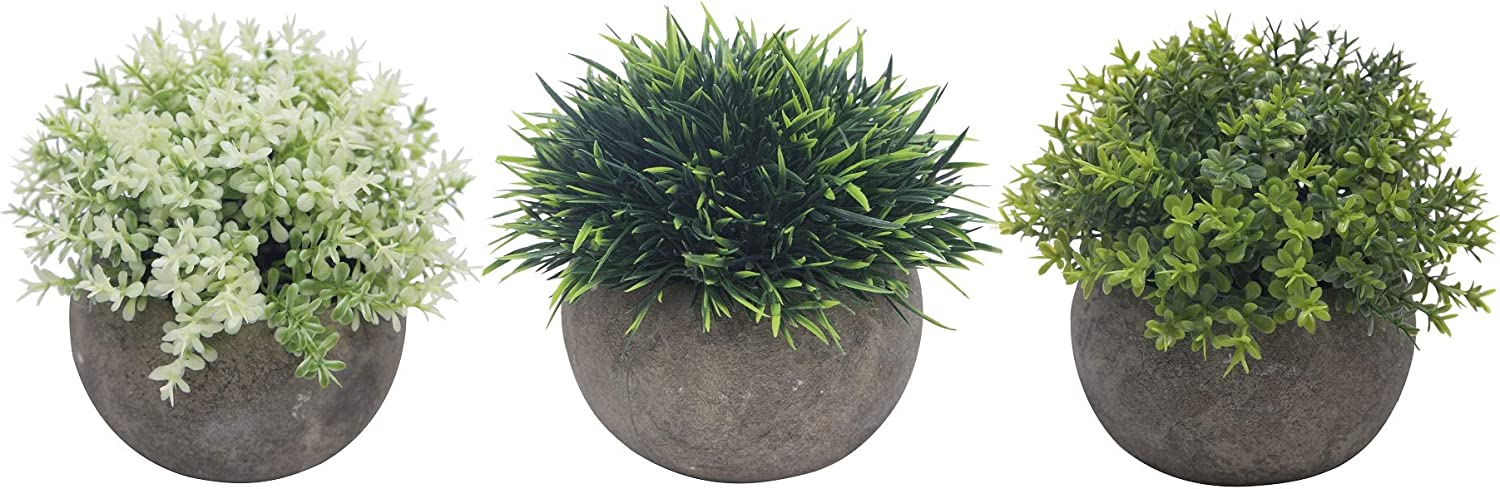 Azoco Small Artificial Plants Mini Fake Plants Decoration Fresh Green Grass in Pot for Bathroom Farmhouse Home House Office Table Decor Set of 3 (Mixed)