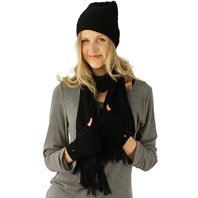 Ladies 3pc Winter Soft Knit Beanie Hat Long Scarf Flip Up Gloves Set Black  S  627acca5a