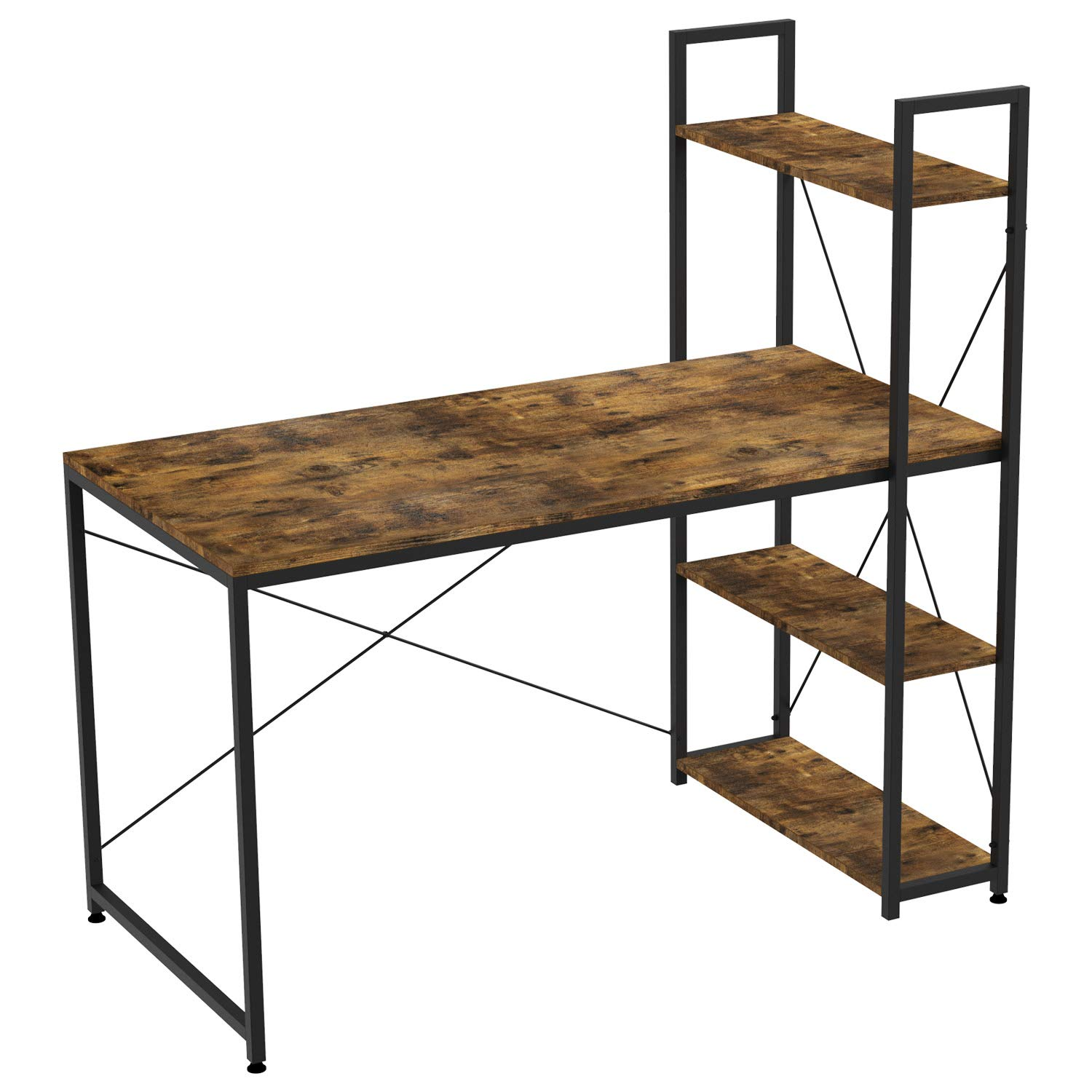 """IRONCK Computer Desk 47"""" with Bookshelf, Computer Writing Table for Home Office, Writing Workstation, Space-Saving, Easy to Assemble, Retro Brown"""