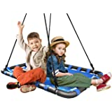 Sorbus Spinner Platform Swing - Kids Indoor/Outdoor Rectangular Mat Swing - Great for Tree, Swing Set, Backyard, Playground, Playroom - Accessories Included (40 x 30, Square Blue)