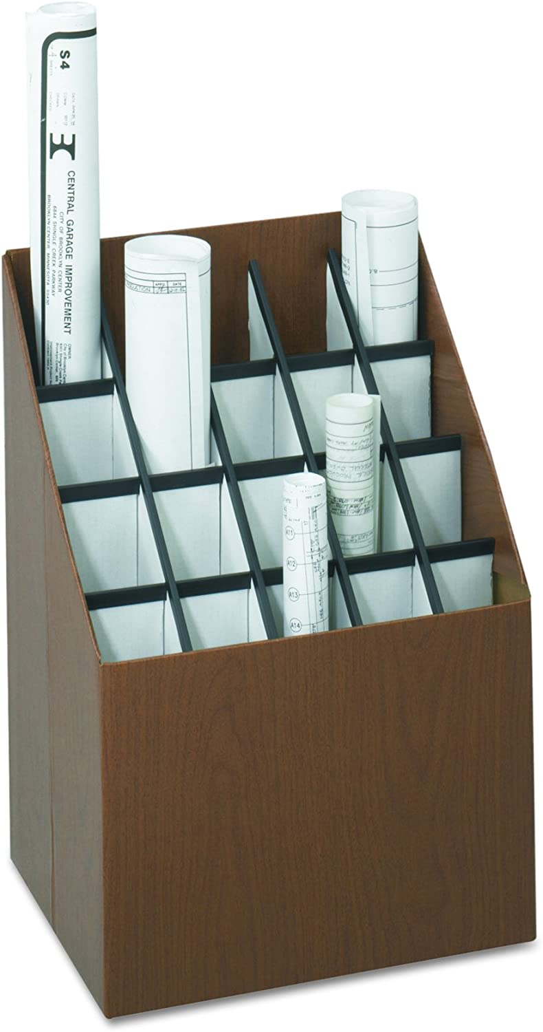 Walnut 12 Compartment Safco Products Vertical Roll File