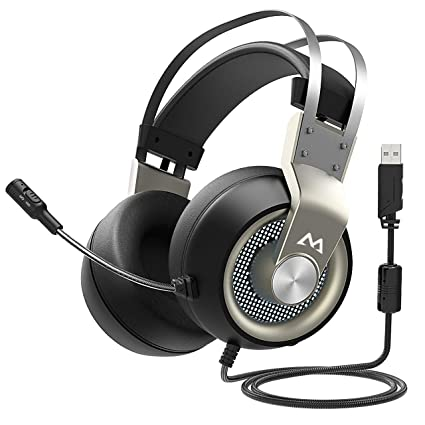 Mpow EG3 Gaming Headset, 7 1 Surround Sound Gaming Headphones, 50mm Driver,  Stereo USB Headset with Noise Cancelling Mic, Over Ear Soft Memory