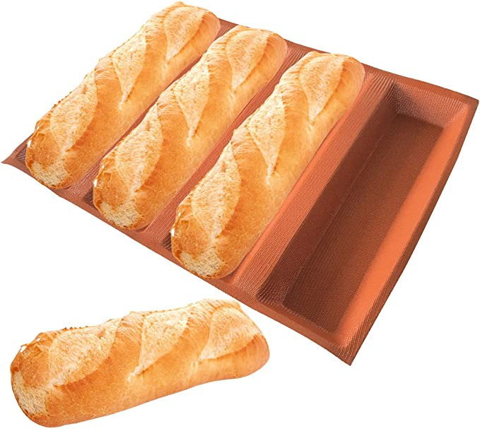 Silicone Baguette Pan-Non-Stick Perforated Fench Bread Pan Forms,Hot Dog M O4D7