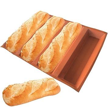Pan formas de silicona para horno rectangular Pan Pan Moldes antiadherente bandeja de horno perforada silicona hoja Eclair moldes: Amazon.es: Hogar