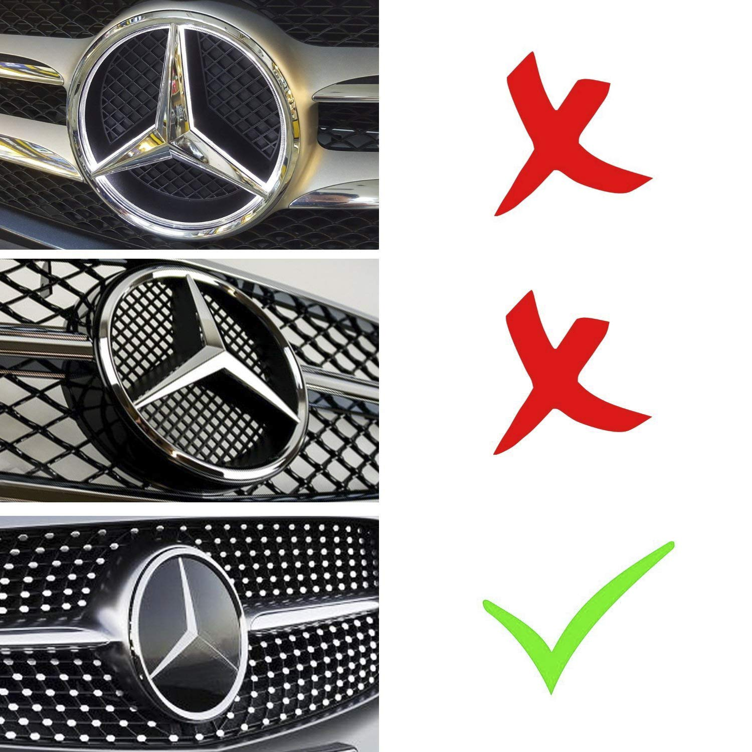 IHEX Auto Xenon White Illuminated LED Car Logo Grid Badge for Mercedes Benz A/B/C/CLS/E/GLK/GL/R Series Front Grille LED Emblem Light (Mirror Surface)
