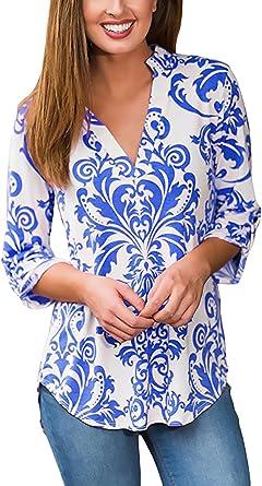 Mujer Camisas Tops Elegantes Vintage Etnicas Estilo ...