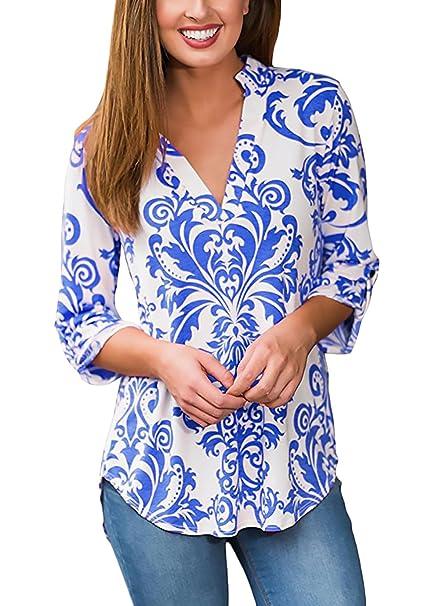 Mujer Camisas Tops Elegantes Vintage Etnicas Estilo Estampadas Camisetas Manga 3/4 V Cuello Primavera