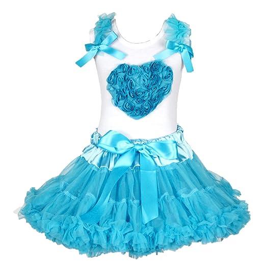 Saint Valentin robe cœur floral blanc en coton pour homme Bleu paon Jupe  Fille de 1 91553ba7673