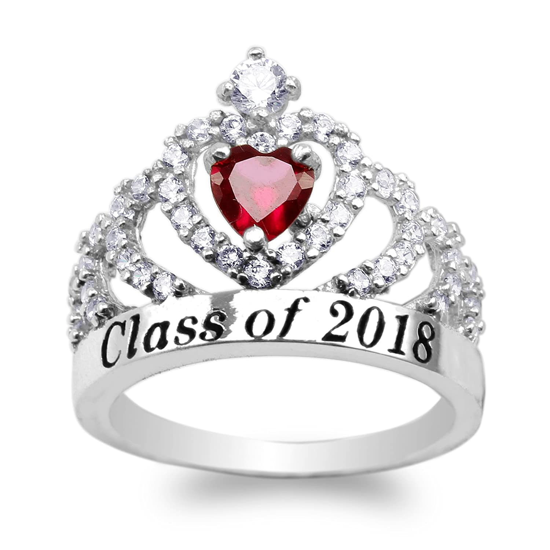 925 Sterling Silver School Class of 2018 Graduation Heart Garnet Red CZ Ring