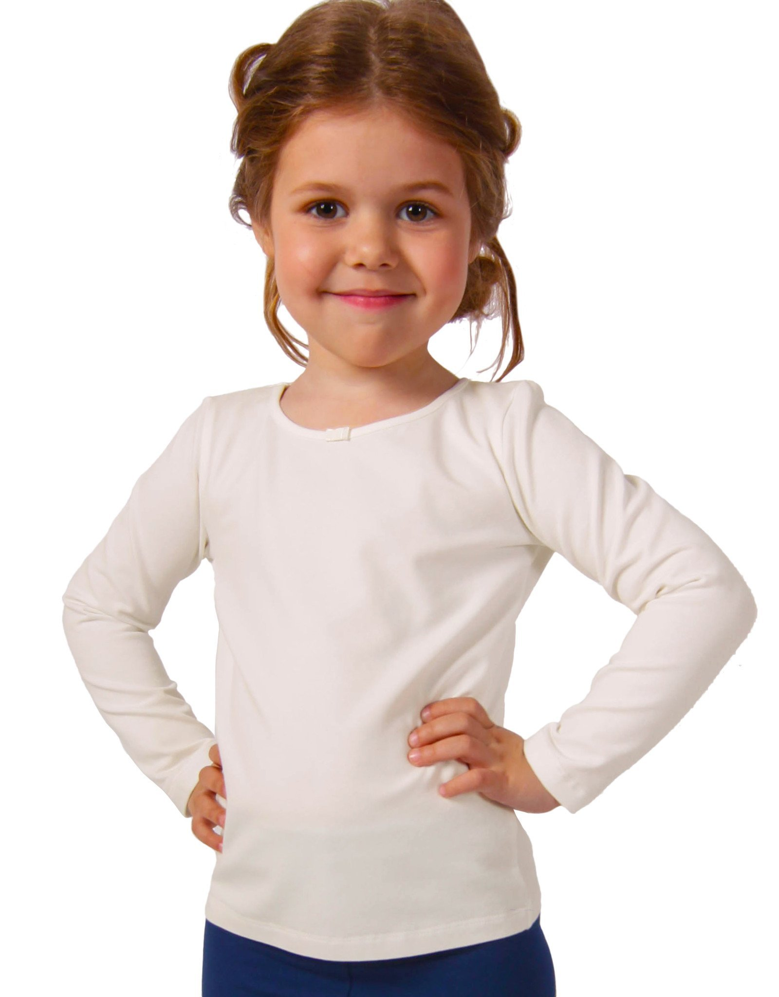 Petite Amelia Little Girls Long Sleeve Bow Tie T Shirt, Size 8, Ivory