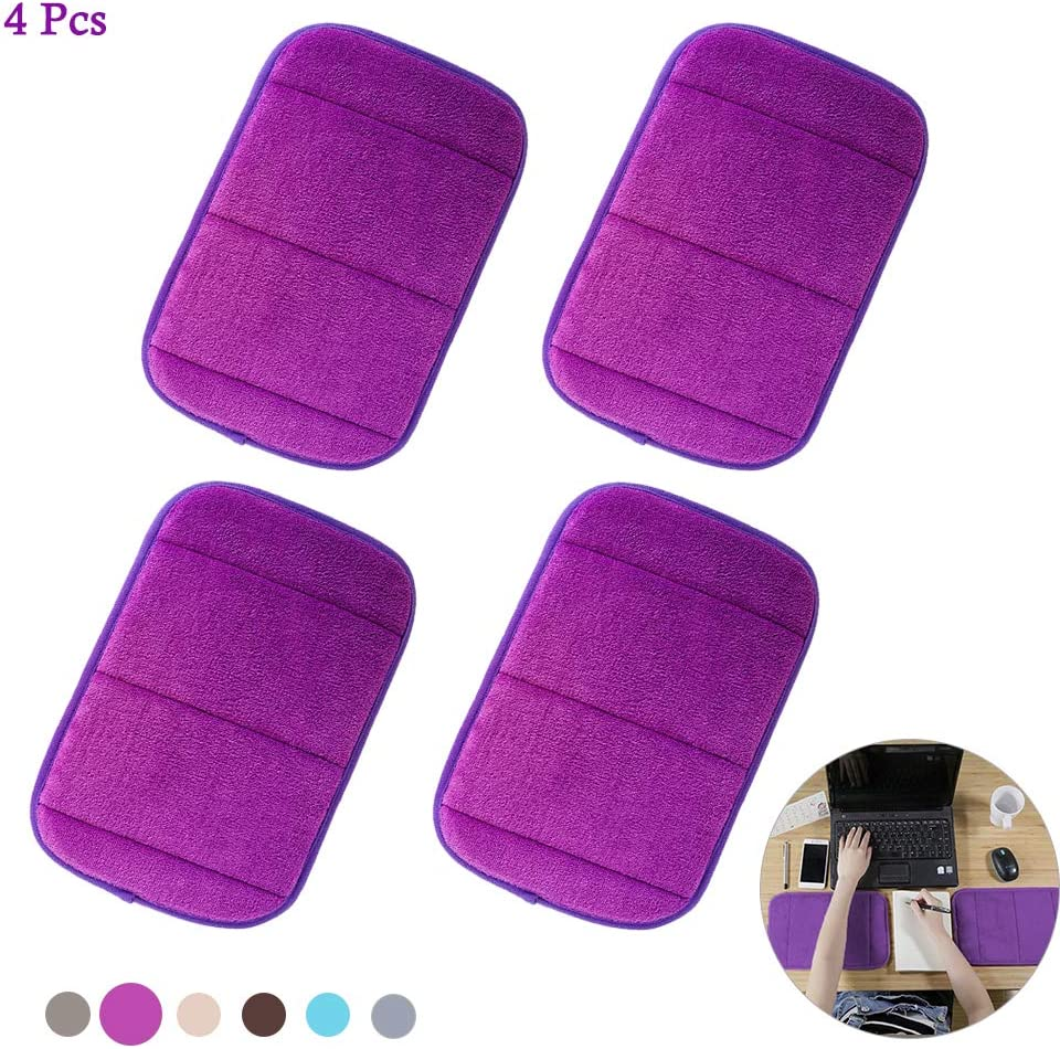 4Pcs Portable Computer Elbow Wrist Pad, AUHOKY 2 Sets Ergonomic Keyboard Wrist Rest Elbow Support Mat for Office Desktop Working Gaming - Memory Foam Relieve Elbow Pain (7.9″×11.8″, Purple)