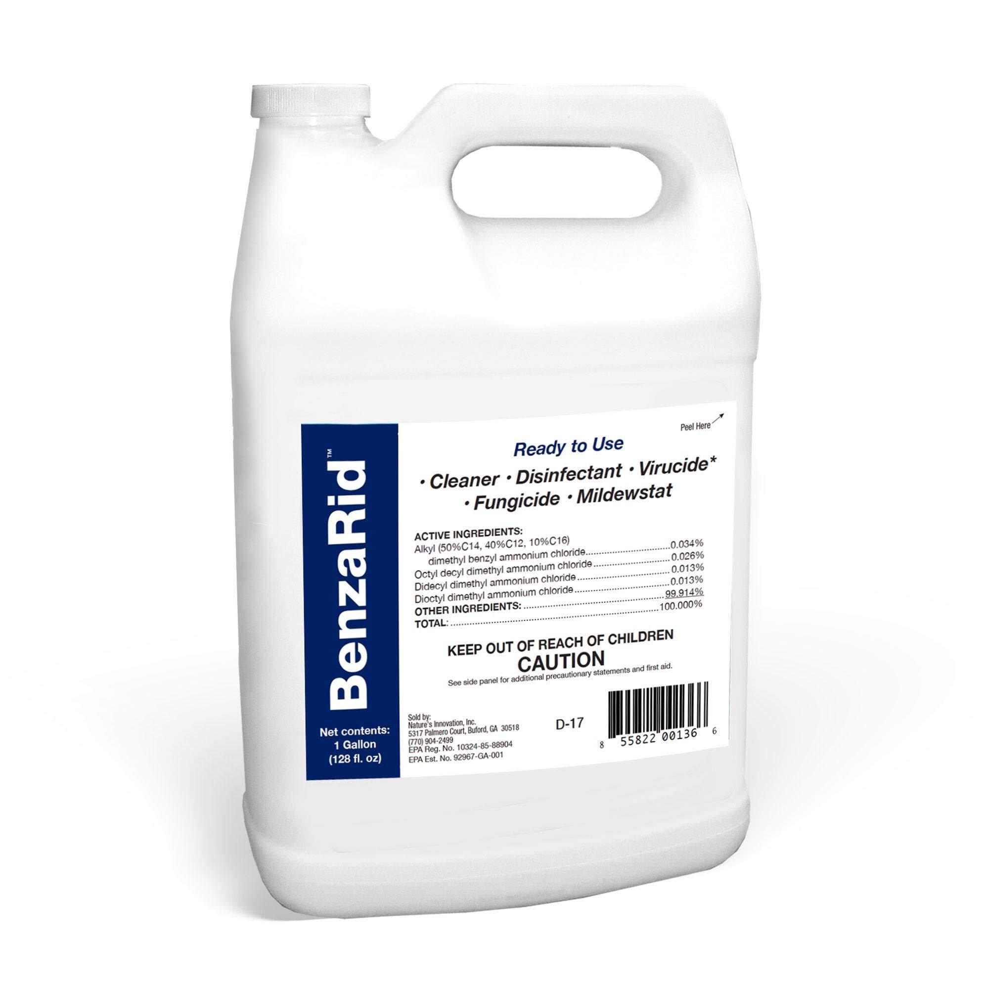 BenzaRid Hospital Grade Disinfectant (1 Gallon) | Professional Sanitizer & Vircucide, Kills MRSA, H1N1, H5N1 Viruses, Avian Flu, Staph, Mites and Blood Born Pathogens | Black Mold Killer, Fungicide