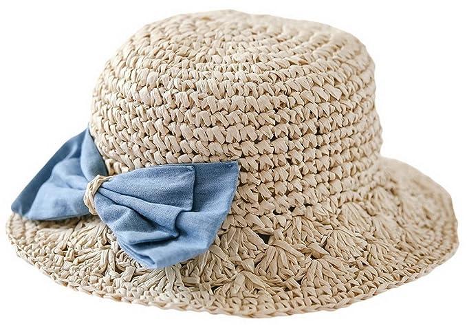 BELLA-Bambina Cappello Paglia con Farfalla Berretto Estate Bimba 48cm   Amazon.it  Abbigliamento 5d97f856457f