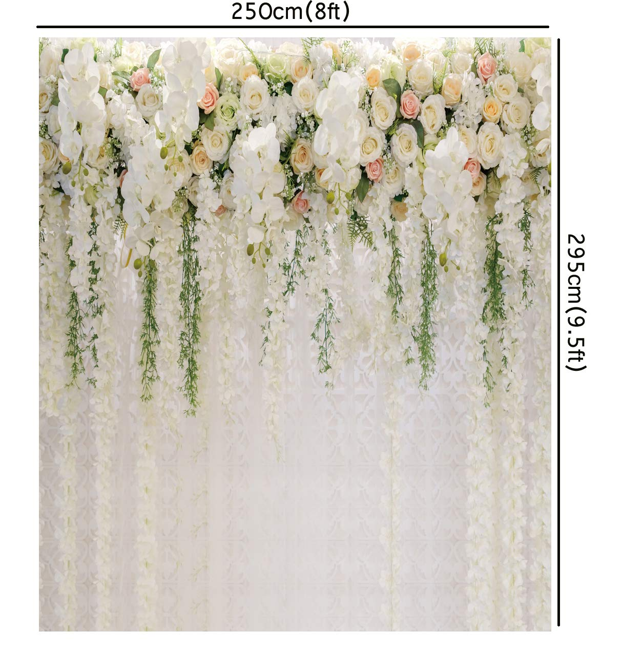 Romantic Wedding Ceremony Backdrop 6x9ft Birthday Polyester Photography Background White Muslin Flowers Petal Black Cages Garden Spring Nature Banquet Rustic Decor Portraits Shoot Photo Prop