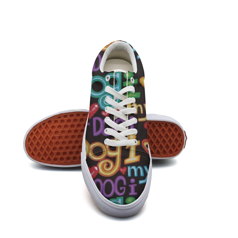 Ouxioaz Womens Tennis Shoe Laces Dog Words Actions Shoes