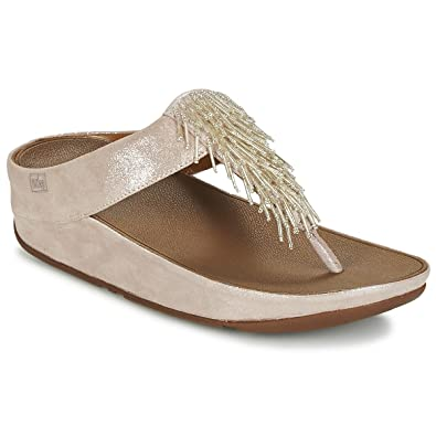 633270180 Fitflop Womens CHA CHA Silver Sandals  Amazon.co.uk  Shoes   Bags