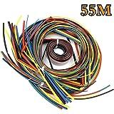 熱収縮チューブ 55M ピースセット 絶縁チューブ 感電防止 防水 高難燃性 収縮率2:1 チューブ シュリンクチューブ 6カラー 11サイズ Φ1mm~20mm