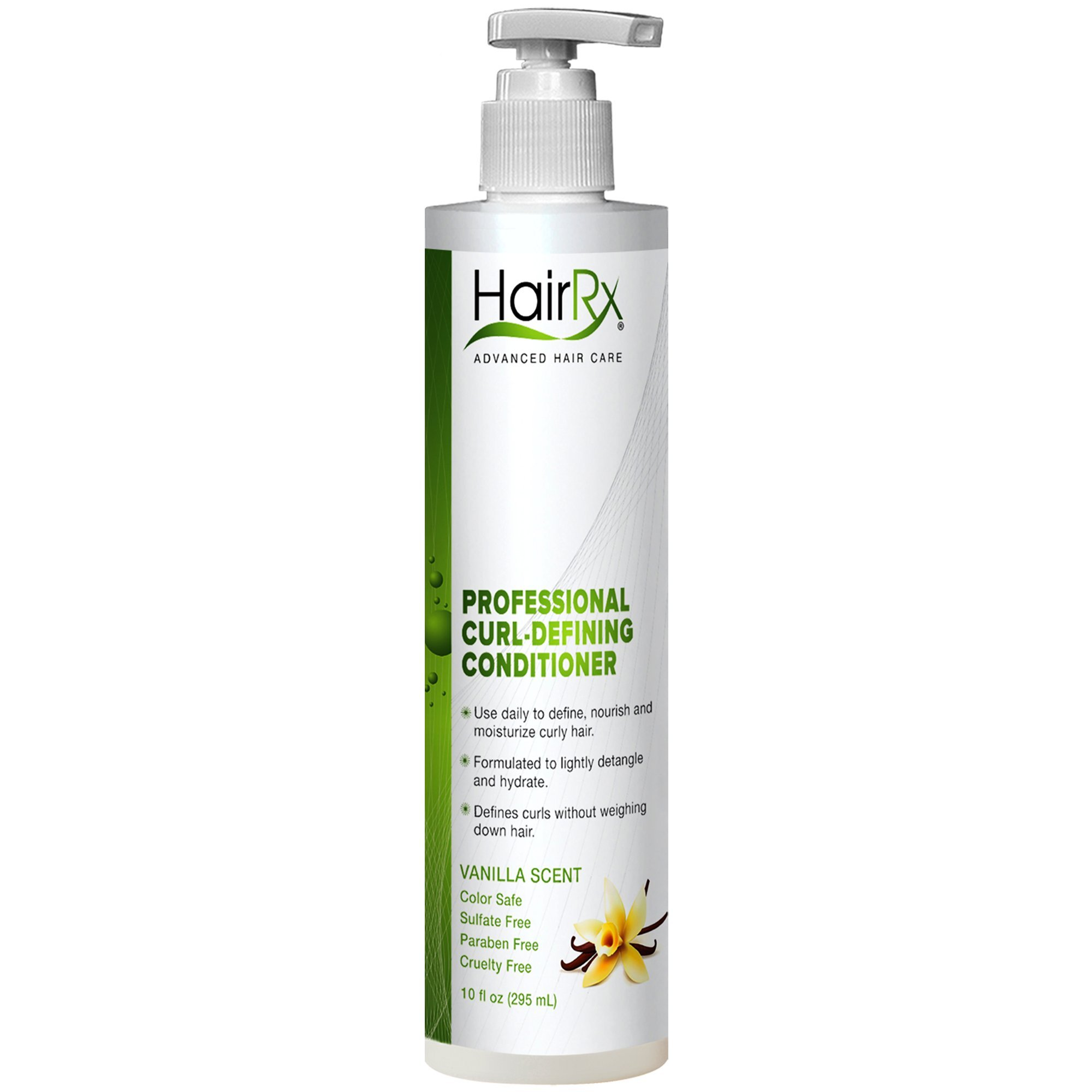 HairRx Professional Curl-Defining Conditioner with Pump, Vanilla Scent, 10 Ounce