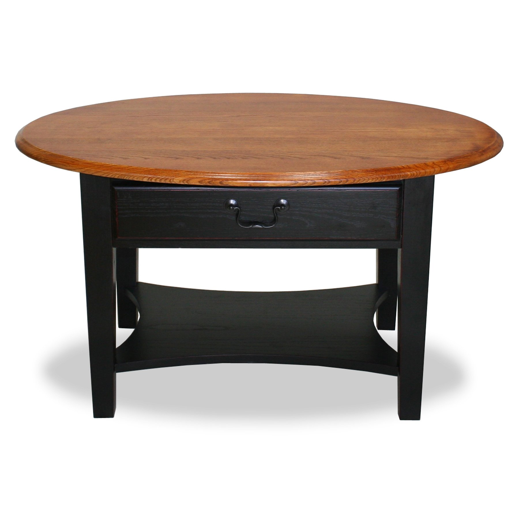 Leick Furniture Oval Coffee Table, Medium Oak/Two-Tone Slate